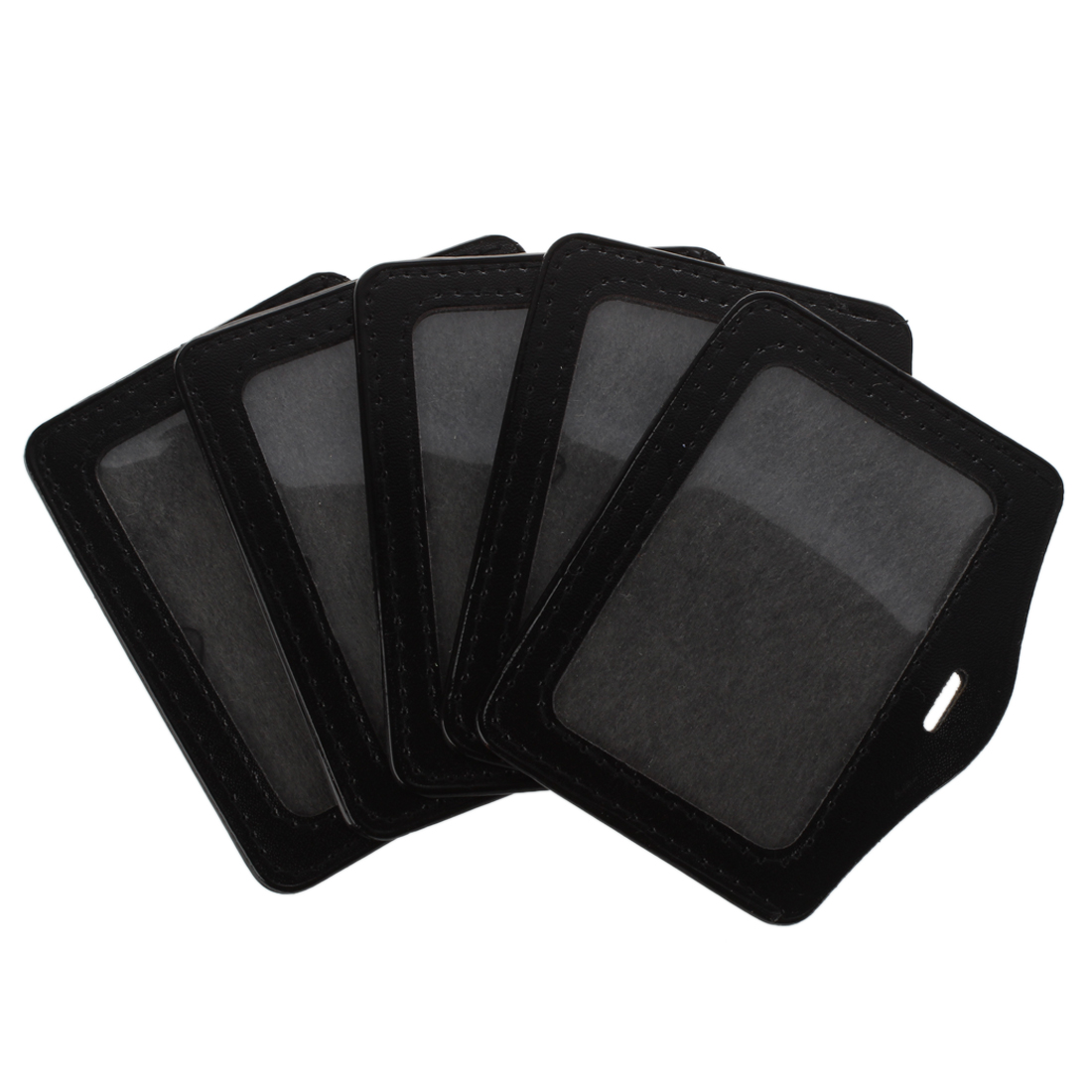 SOSW-5 Pcs Black Clear Faux Leather Business ID Card Badge Holder