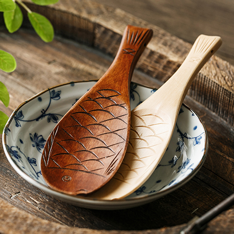 BalmDays-Kitchen-Wooden-Rice-Serving-Spoon-Wood-Rice-Paddle-Spatula-Cute-Fish-Rice-Spoon-Scoop-Potato