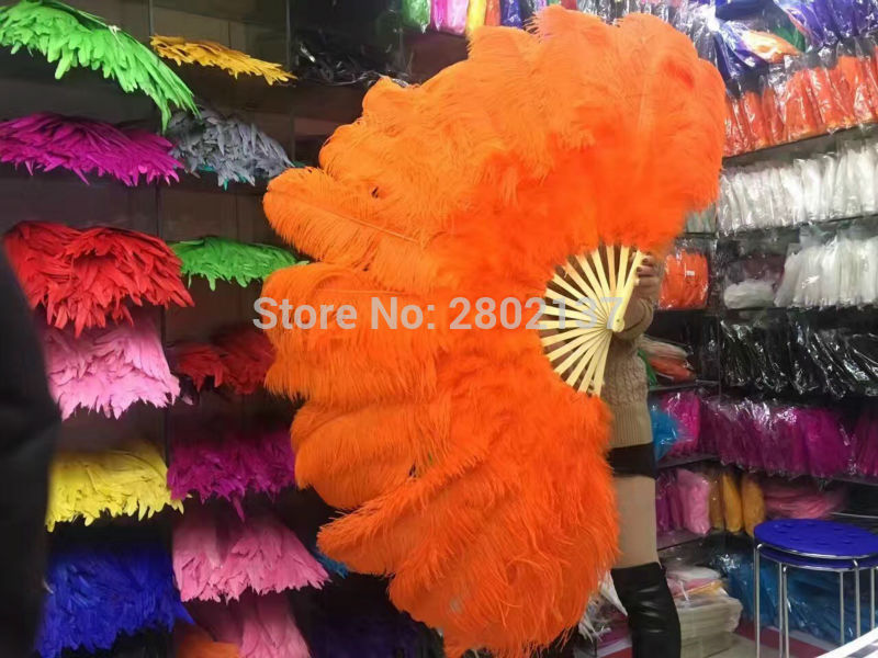 New!  Ostrich feathers double fan bamboo pole Halloween party decorations jewelry need 12 bones belly dance Orange feathers fanNew!  Ostrich feathers double fan bamboo pole Halloween party decorations jewelry need 12 bones belly dance Orange feathers fan