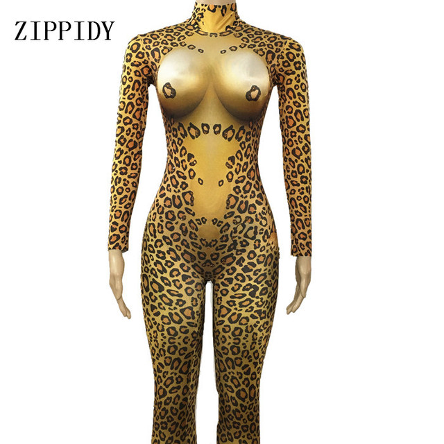 b728824216 Sexy Leopard Bodysuit Rhinestone Costume Big Stretch Jumpsuit Performance  Women Pattern Outfit Dance Sexy Occasion Dance Wear