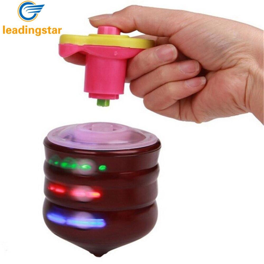 RCtown Children LED Light-up Music Wood-Like Peg-top Hand Spinner Plastic Flash Gyro Toy Gift For Kids Children