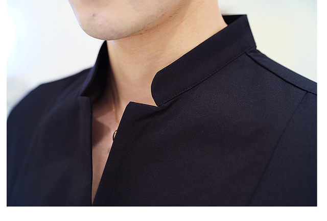 Fall Winter Stand Collar Mens Long-sleeved Dress Shirts Black Red White Slim Elegant Youth Male Business Wedding Formal Shirt 36