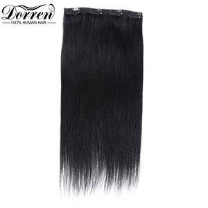 Image 4 - דורין 10 12 14 16 מלזיה קצר כפול ערב קליפ שיער טבעי הרחבות עבה 100% ישר שיער קליפ ב תוספות 7 pieces