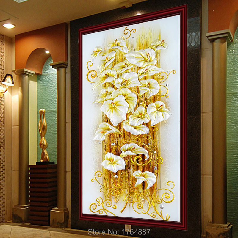 New Lily Flowers Diamond embroidery Crystal Diamond Painting Cross Stitch Bright Round Vertical Print Picture Canvas