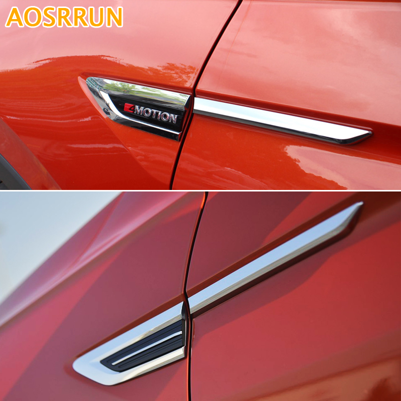 Car Accessories car styling 4PCS ABS Outer side Fender Front Door Cover Trim For Volkswagen VW Tiguan 2017 MK2 car abs chrome interior inside inner door window glass switch panel cover trim frame molding 4pcs for vw tiguan l mk2 2016 2018