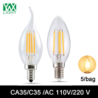 YWXLight 5 Bag E12 E14 LED Light Lamp Candle Edison Bulb C35 CA35 Retro Vintage Antique