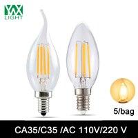 Ywxlight 5/мешок E12 E14 светодиодные лампы свечи EDISON ЛАМПЫ C35/CA35 Ретро Винтаж под старину Стиль лампа прожектор люстра