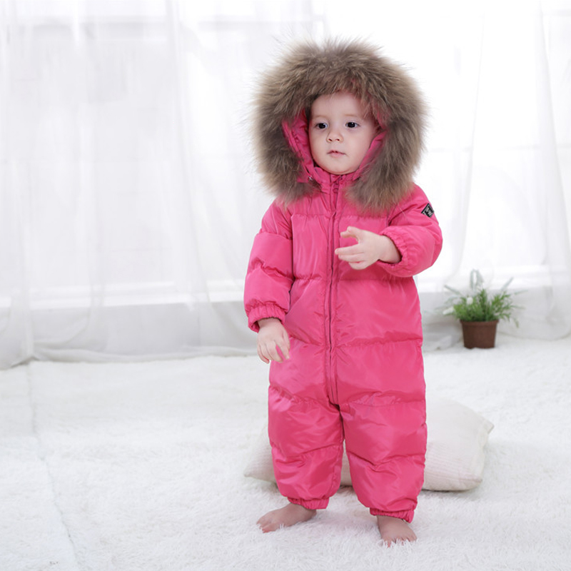 Girl Winter Overalls  Rompers Duck Down Jumpsuit collar Thick Children Outerwear