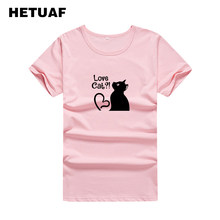 e88002d082f HETUAF Love Cat 2018 Kawaii Graphic Tees Women Cartoon Streetwear Funny T  Shirts Women Casual Hippie Summer Tshirt Women Tops