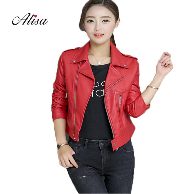 Pu   Leather   Jacket Female Short Coats 2018 Spring Autumn Women Slim Punk Style Red Biker   Leather   Jacket Ladies Casacos Feminino