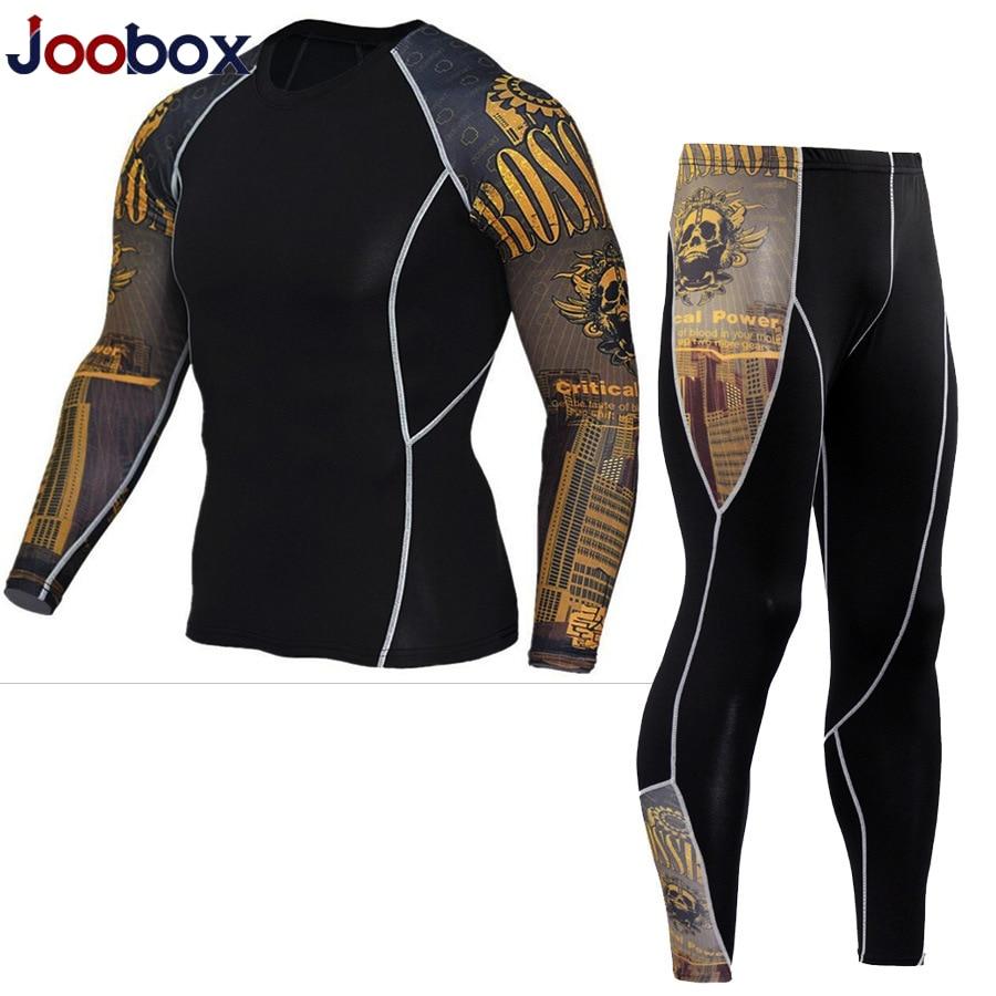 JOOBOX New Thermal Underwear Men's Underwear Sets Compression Fleece Sweat Quick-drying Thermal Underwear Men's Clothing Men Set