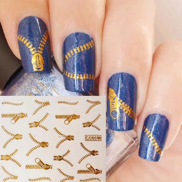 2016 fashion 1 pc zip fastener zipper nail art sticker water decals manicure gold silver two
