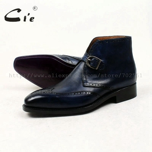 Image 5 - Cie מלא בוהן מרובע נעלי מדליון פטינה כחול 100% עור עגל אמיתי אתחול אתחול אבזם של גברים בעבודת יד גודייר דקות עטר A91