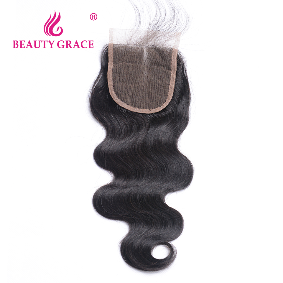 Beauty Grace Brazilian Body Wave Lace Closure With Baby Hair 4x4 Non-Remy 100% Human Hair Middle Part Top Closure Bleached Knots
