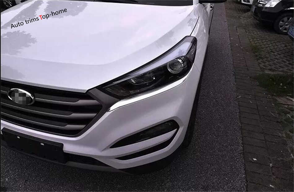 Yimaautotrims ABS Chrome Headlights Lamp Eyelid Eyebrows Strip Lid Cover  Trim Kit For Hyundai Tucson 2016 2017 2018 Accessories