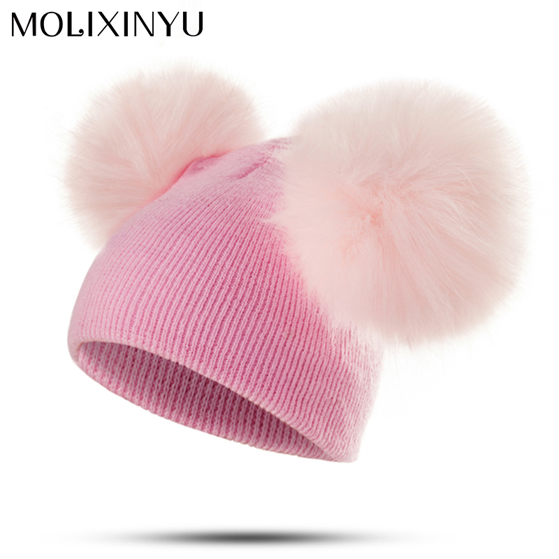 7c29e831555 MOLIXINYU Brand Infant Toddler Baby Girls Boys Warm Winter Hat Pom Pom Baby  Hat Newborn Photography Props Dropshipping-in Hats   Caps from Mother   Kids  on ...