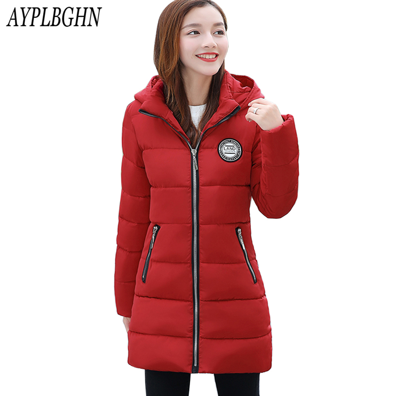 Female Winter Jackets New Women Slim Fashion Warm Wadded jacket Long sleeve Hooded Cotton-padded Plus size M-3XL Long Coat 7L40 winter jackets new women slim warm wadded jacket long sleeve down parkas hooded cotton padded big yards m 3xl long coat female