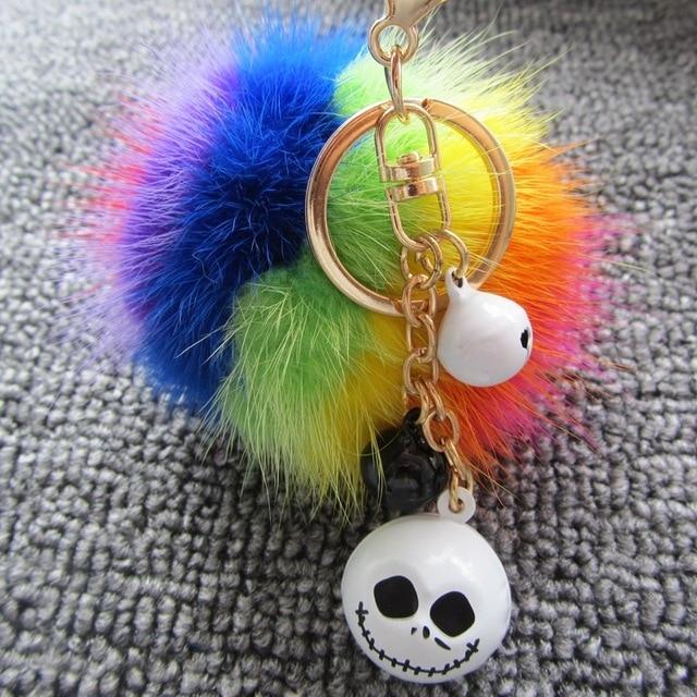 New Design Unique Mink Fur Ball Pompom Keychain Car Key Bag Pendants Skull Bell Pom Plush Key Chain Christmas Halloween Gifts
