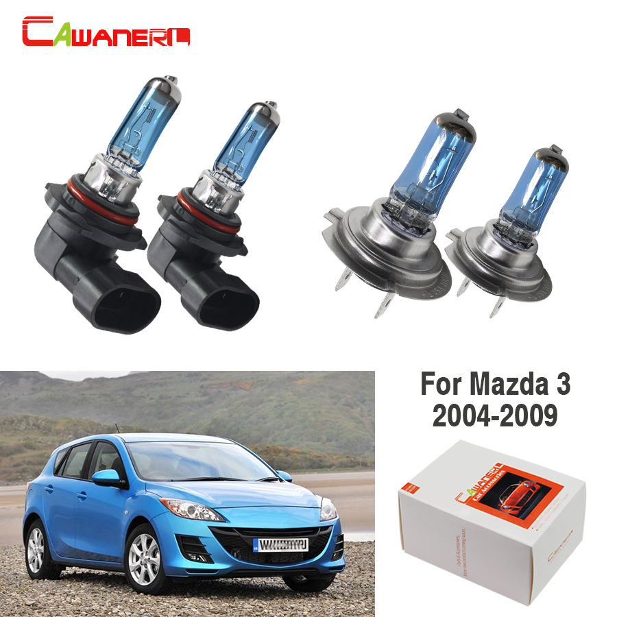 Cawanerl For <font><b>Mazda</b></font> <font><b>3</b></font> 2004-2009 100W Car Headlight Light High Beam + Low Beam Halogen Lamp 12V 4 Pieces image