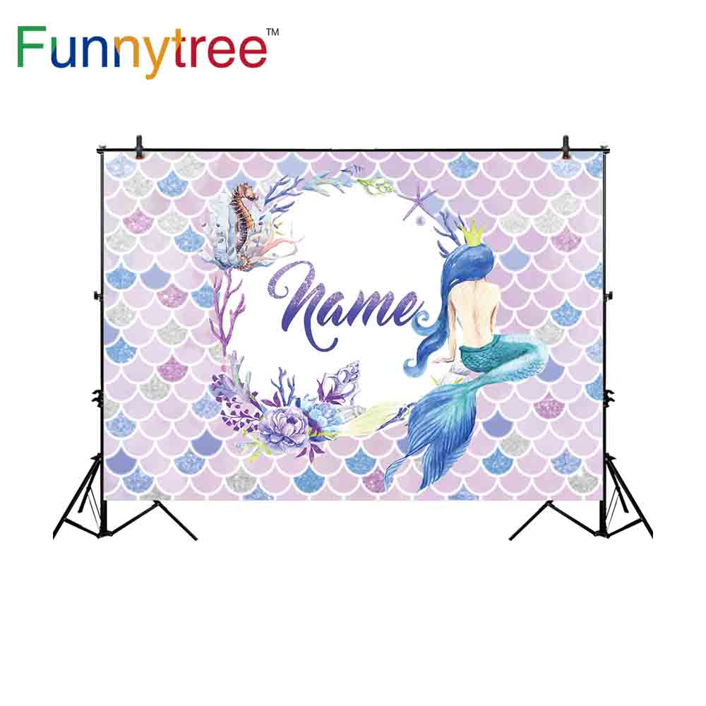 Funnytree new photographic background mermaid underwater fish scale flower Seahorse coral backdrop professional customize