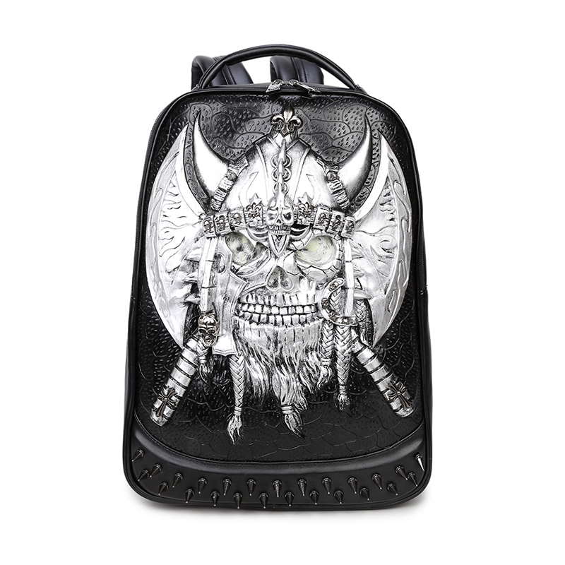 3D Skull Backpack Shoulder Bags for Men Backpack Gothic Punk Rock School Backpack Mens Cool Casual School Bags for Boys