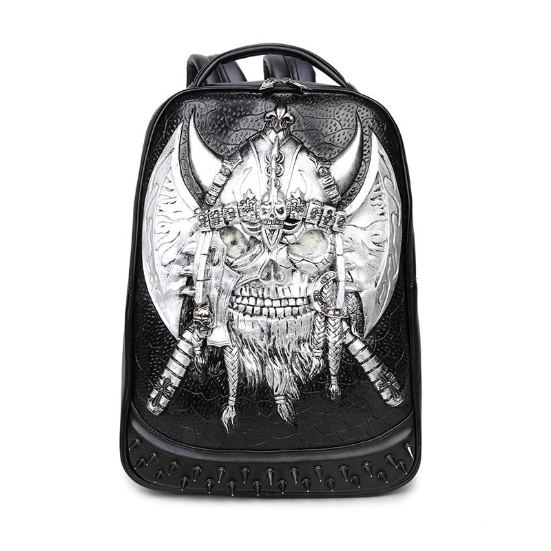 de Bolsos mochila mochila hombro para hombres punk los 3D cráneo SqPxnPH