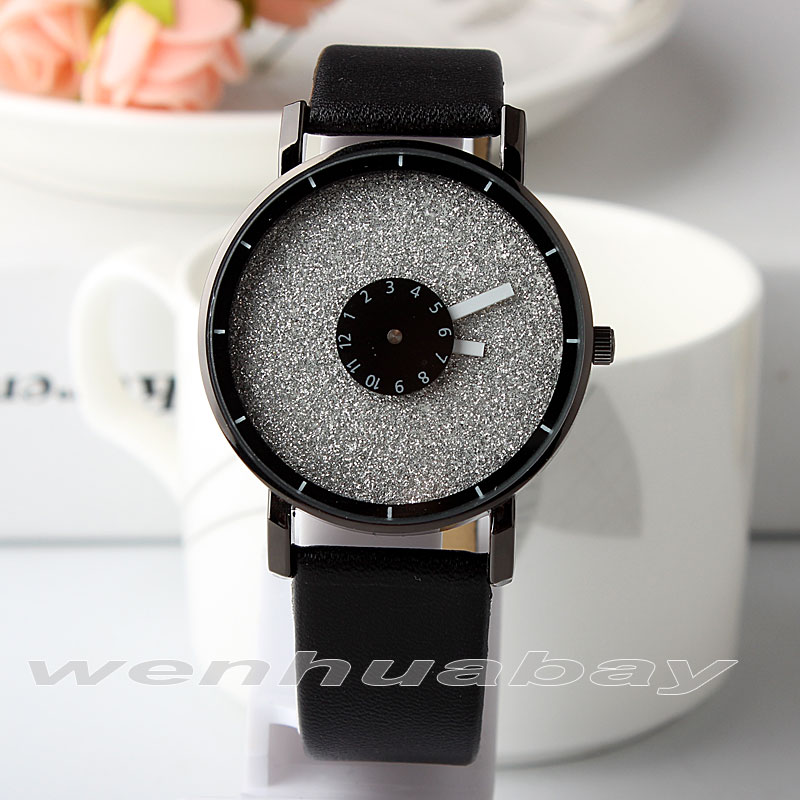 2017 New Fashion Turntable Bling Dial Design Simple Men Women Quartz Wristwatches Leather Strap Lover's Watch With Gifts Box sakura q5949x q7553x
