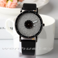 Fashion Turntable Dial Design Simple Quartz Wristwatches Leather Band For Men Women High Quality Lover S
