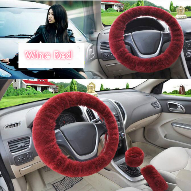 Image 5 - Universal Steering wheel Plush Car Steering Wheel Covers Winter Faux fur Hand Brake & Gear Cover Set Car Interior Accessories-in Steering Covers from Automobiles & Motorcycles