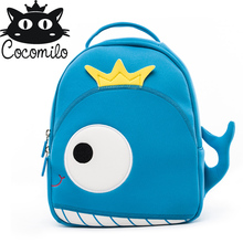 Cocomilo Baby 3D Model whale Kids Baby Bag Anti Lost School Bags for 2-6 Years Boys and Girls Bagpack Waterproof Backpack light rainbow baby 3d model shark kids baby bags waterproof wear resistan with anti lost rope boys girls child s school bags backpack