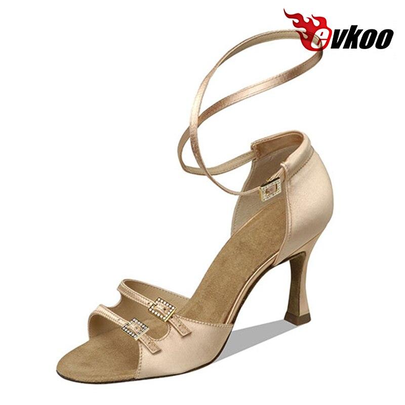 06556ca89bccb Evkoodance Noir Kaki Brun Couleur Femme Latine Salsa Danse Chaussures 7.3 cm  Talon Satin Avec Boucle Matériel Evkoo-019
