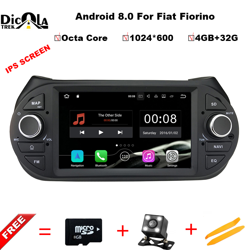 цена Android 8.0 Car DVD Player For Fiat Fiorino Citroen Nemo Peugeot Bipper Multimedia GPS Navigation PC Headunit Radio Stereo BT