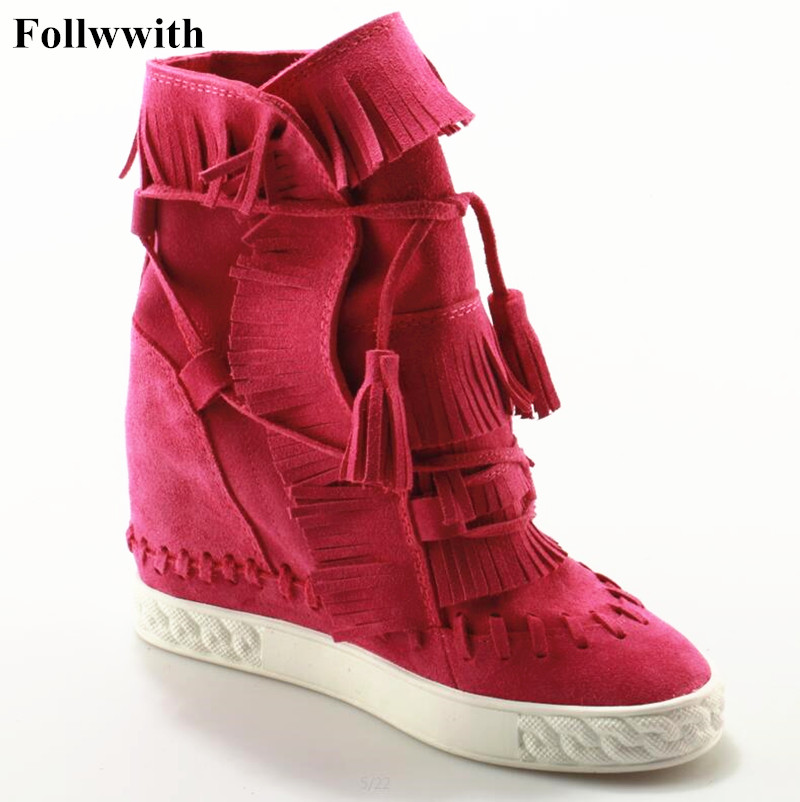 купить Women Riding Boots Height Increasing Ladies Casual Shoes Suede Fringed Women Ankle Booties Tie Up Platform High Top Womans Shoes дешево