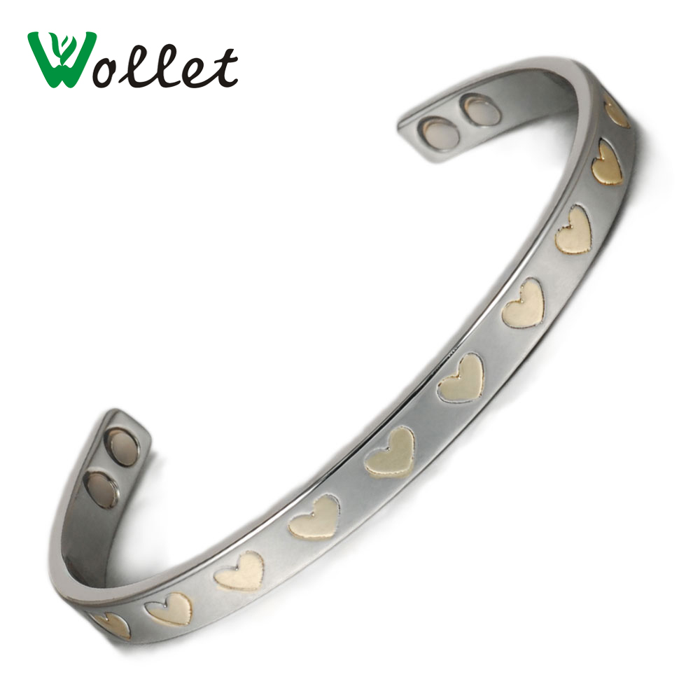Wollet Jewelry Pure Copper Magnetic Bracelets Bangle Women Heart Design Healing Energy Balance Bio Magnetic