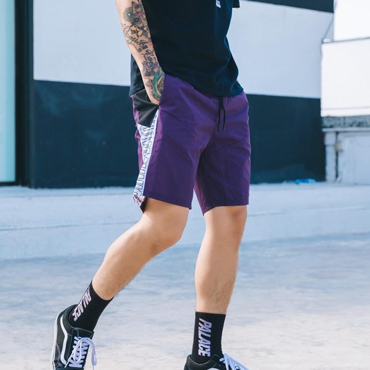 VEGORRS 2018 leisure men shorts summer new short masculino light personality letter loose crash color splicing