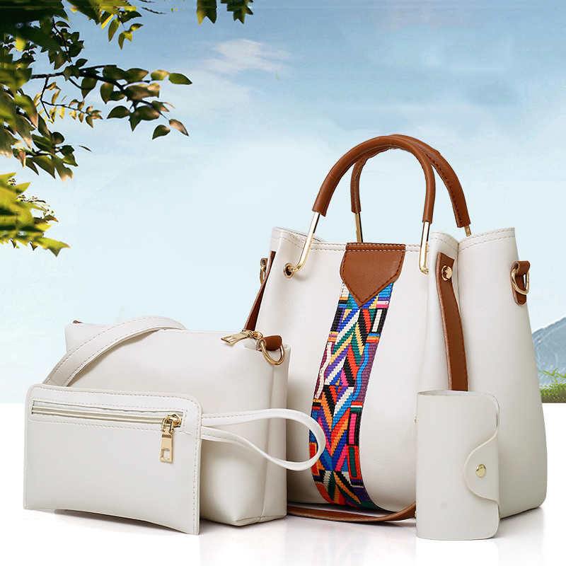 Amberler 4 Pieces Set PU Leather Women Handbags High Quality Large Capacity Ladies Shoulder Bucket Bags Fashion Female Tote Bag