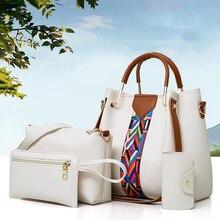 Amberler 4 Pieces Set PU Leather Women Handbags High Quality Large Capacity Ladies Shoulder Bucket