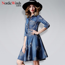 2017 new summer women's clothing denim dress fashion one-piece dress slim fifth sleeve turn-down collar embroidered denim dress