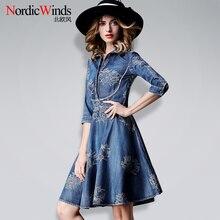 2017 new summer women s clothing denim dress fashion one piece dress slim fifth sleeve turn