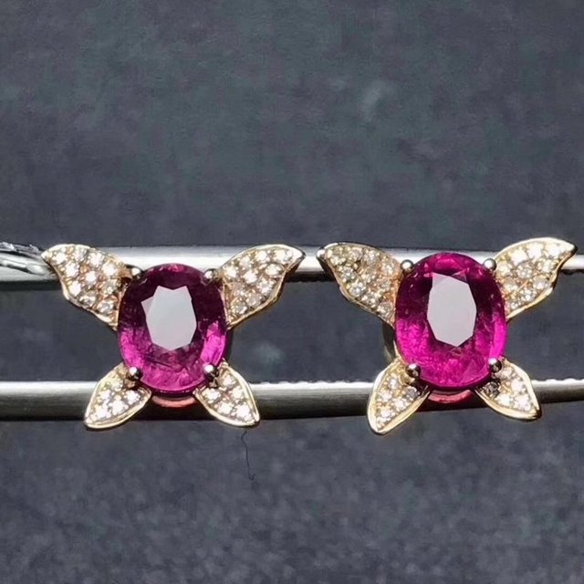 Fidelity Natural Clic 5 7mm Ru Pink Tourmaline Stud Earrings S925 Silver Fine Jewelry For