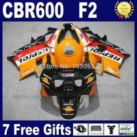 Настроить Бесплатная Обтекатели для Honda Repsol 1991 1992 1993 1994 CBR 600 F2 CBR600 F 91 92 93 94 CBR600 f2 Orange наборы обтекателей + майка