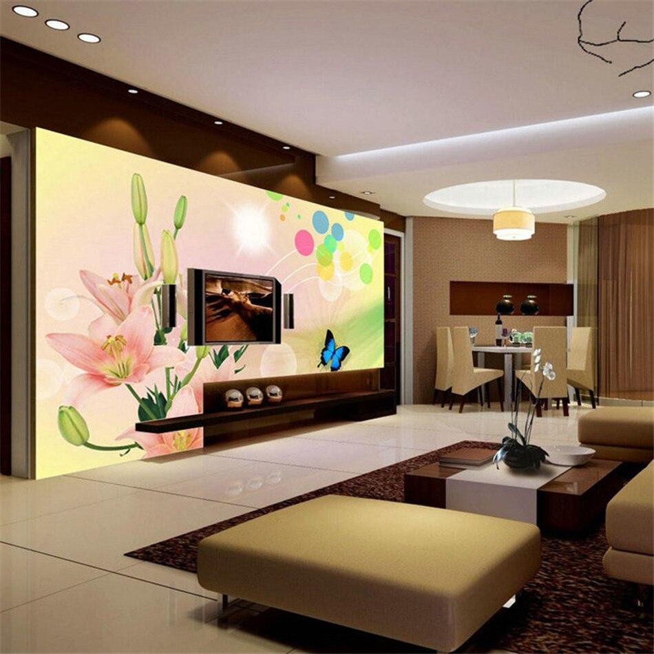 Grace Dancing Lilies Butterfly Non-woven Vinyl Wallpaper Rolls for Walls 3d Hallway Papel Pintado Vintage Papel De Parede Tijolo