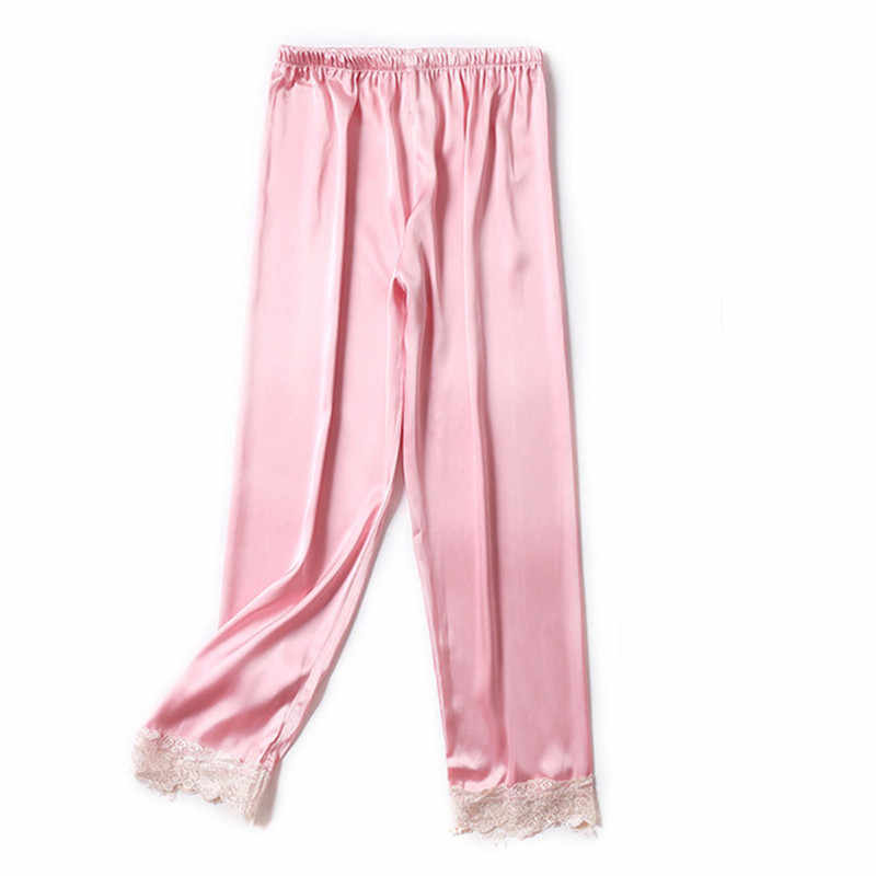 6b34a43571 Sexy Pajama Pants Women Silk Sleep Bottoms Satin Home Pants For Women Plus  Size Indoor Trousers