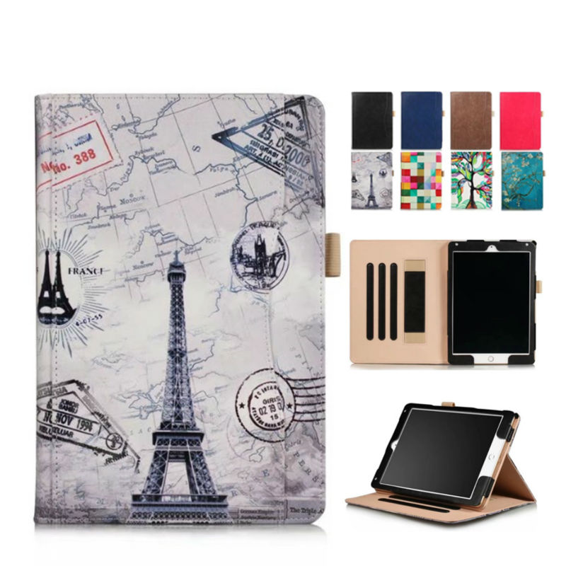 For iPad 9.7 2017 New Model PU Leather Case Cover Print Protective Stand For Apple iPad 2017 9.7 inch Wallet Smart Cover Fundas case cover for goclever quantum 1010 lite 10 1 inch universal pu leather for new ipad 9 7 2017 cases center film pen kf492a