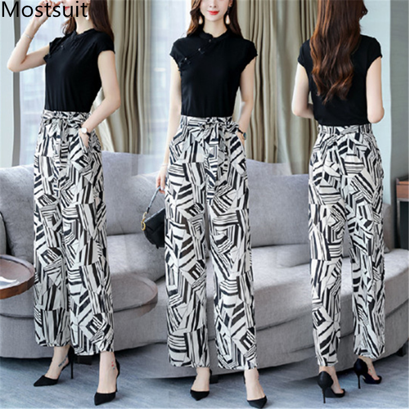 2019 Summer Elegant Two Piece Sets Outfits Women Plus Size Short Sleeve T-shirts And Printed Wide Leg Pants With Belt Suits Sets 25