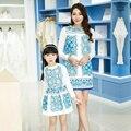 Nuevo estilo chino de la madre hija juego vestidos conjuntos de la familia de primavera moda trajes de manga + camiseta de la madre niña sistemas de la ropa