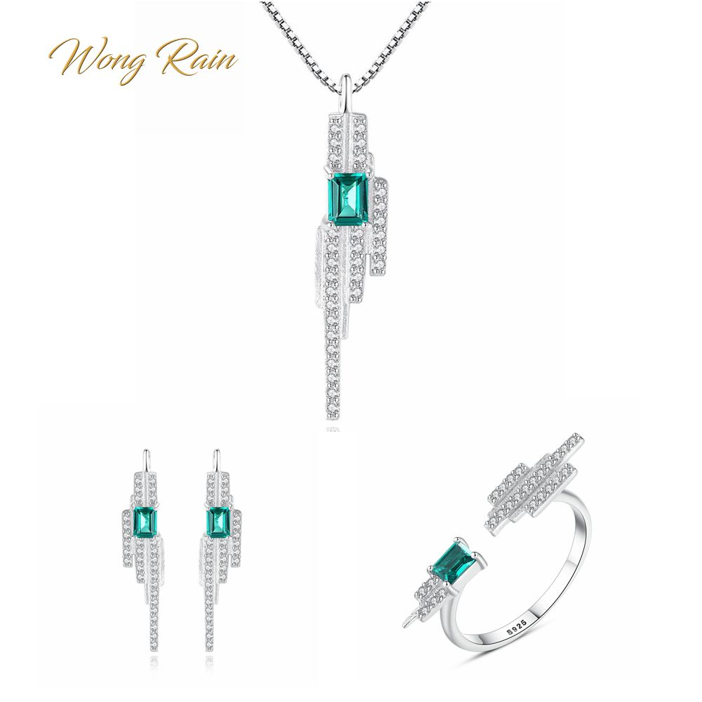 Wong Rain Trendy 100% 925 Sterling Silver Emerald Gemstone Earrings Ring Necklace Fine Jewelry Set Gifts Wholesale Drop Shipping
