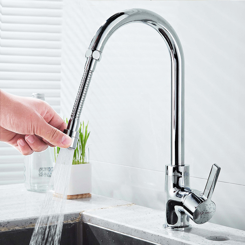 Kitchen Faucet Splash Nozzle Flexible Rotatable Hose Tap Water Saving Shower Valve Filter Faucet Connector Two Water-outlet Mode