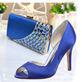 Lady royal blue D'orsay satin dress shoes with matching crystal clutch handbag high heels party banquet evening dress outfit