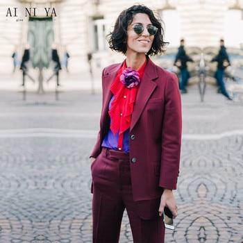 NEW Burgundy womens business suits female office uniform ladies pant suits elegant winter formal 2 piece sets women tuxedo